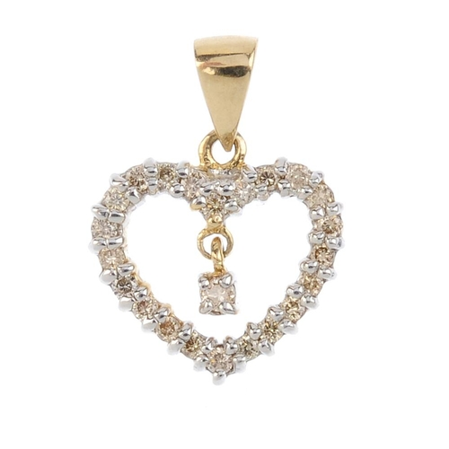 209 - Three diamond pendants. To include an 18ct gold diamond free moving collet pear-shape pendant, a 9ct...