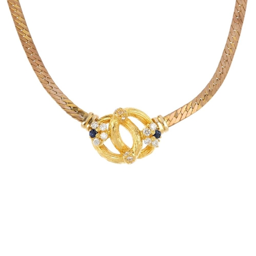 226 - A diamond and gem-set necklace. The front designed as two intertwined textured oval panels, to brill...