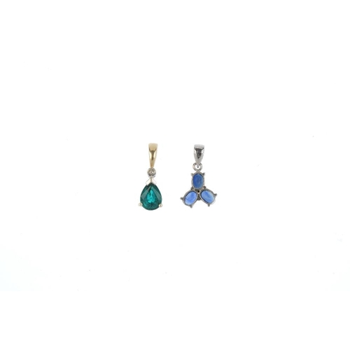 228 - Three diamond and gem-set pendants. To include a 9ct gold ruby and diamond pendant, a 9st gold synth...