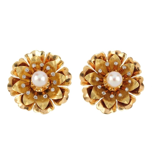 231 - A pair of 14ct gold diamond cultured pearl diamond clip earrings. Each designed as a cultured pearl,...