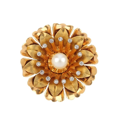 232 - A cultured pearl and single-cut diamond foliate brooch.  Designed as a cultured pearl, within a sing...