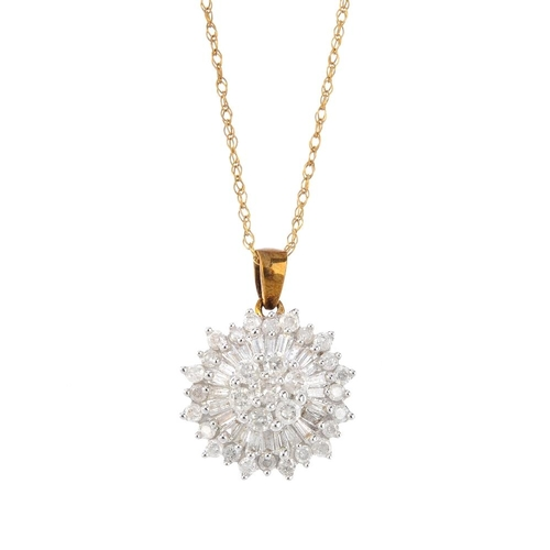 237 - A 9ct gold diamond cluster pendant. The brilliant-cut diamond cluster within a tapered baguette and ...
