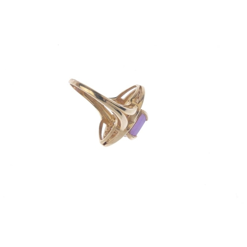 245 - A gem-set dress ring. The rectangular-shape purple gem, with diamond accent and circular-shape purpl...