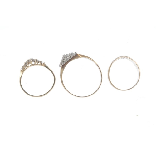 253 - Three gold diamond and gem-set rings. To include a 9ct gold illusion-set diamond cluster ring with f...