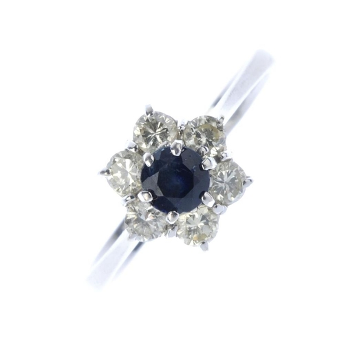 255 - A suite of sapphire and diamond cluster jewellery. To include a ring designed as a circular-shape sa...