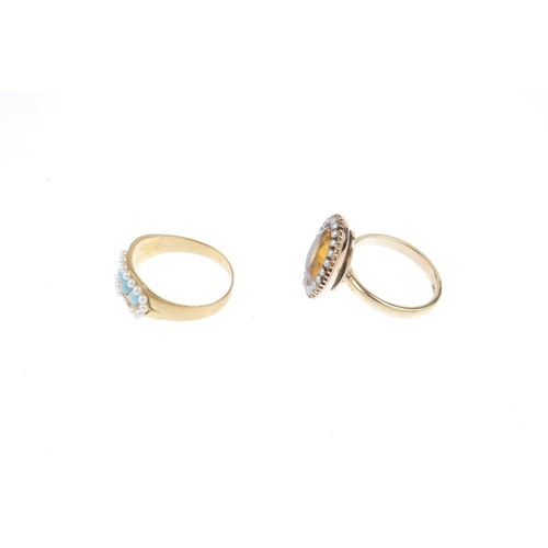 266 - A late Victorian gem-set ring and a later ring. The first designed as a replacement blue paste line,...