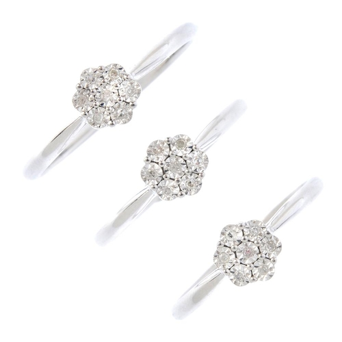 276 - Three 9ct gold diamond cluster rings. Each designed as an illusion-set single-cut diamond cluster, w...