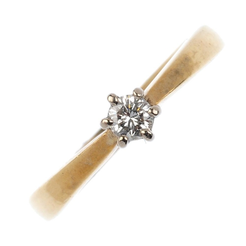282 - A 9ct gold diamond single-stone ring. The brilliant-cut diamond, with tapered shoulders. Estimated t...