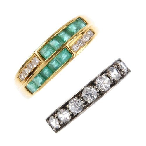 286 - Two 18ct gold diamond and emerald rings. To include a brilliant-cut diamond half-circle eternity rin...