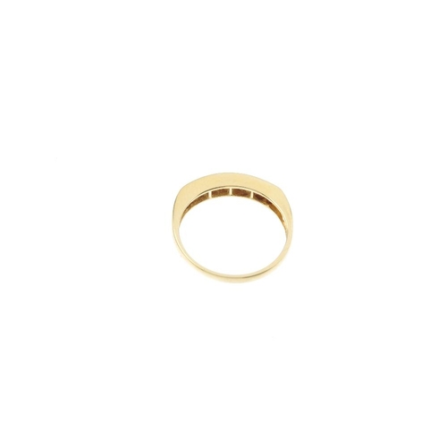 292 - An 18ct gold diamond half-circle eternity ring. The square-shape diamond line, within a channel sett...