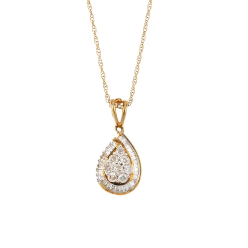 306 - A 9ct gold diamond pendant. Of pear-shape outline, the brilliant-cut diamond cluster, within a bague...