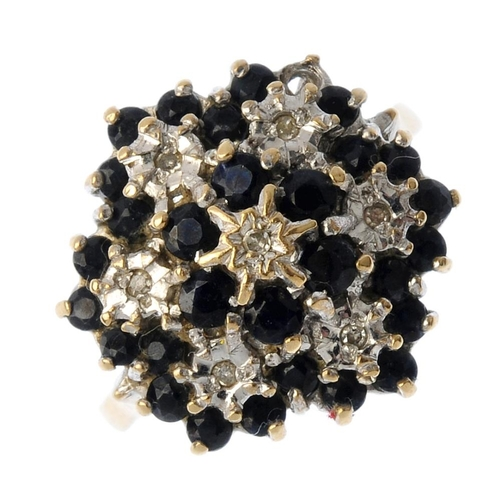 309 - Four 9ct gold diamond and gem-set rings. To include a diamond and sapphire cluster ring, a blue topa...
