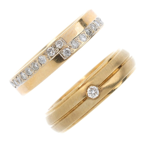 313 - Three 9ct gold diamond band rings. To include a diamond single-stone ring with grooved band, a diamo...