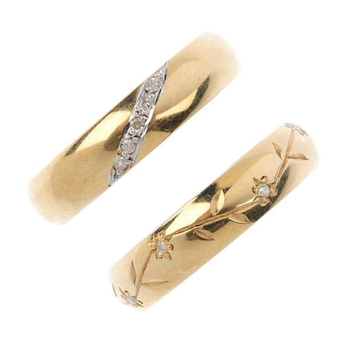 315 - Three 9ct gold diamond band rings. To include a diamond floral and foliate engraved band ring, with ...