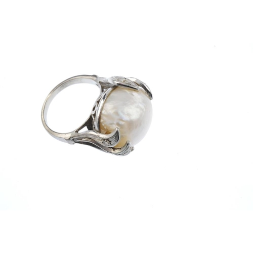 316 - A cultured pearl and diamond dress ring. The cultured pearl, within a single-cut diamond foliate set...