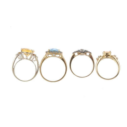 317 - Four 9ct gold diamond, coloured treated diamond and gem-set rings. To include a 'green' diamond and ...
