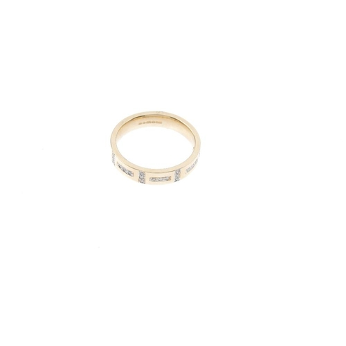 319 - Three 9ct gold diamond band rings. To include a diamond panel band ring, a diamond line band ring, a...