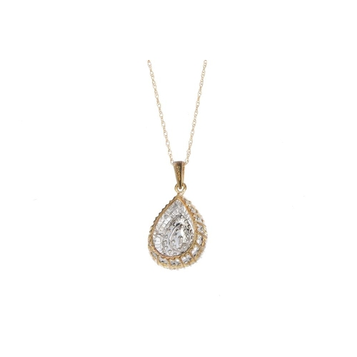 32 - A 9ct gold diamond pendant. Of pear-shape outline, the brilliant-cut diamond cluster, within a taper...