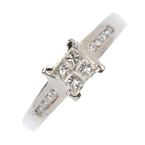 328 - An 18ct gold diamond cluster ring. The square-shape diamond cluster, with brilliant-cut diamond line...