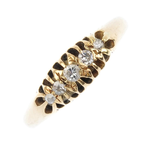 338 - An early 20th century 18ct gold diamond five-stone ring. The brilliant-cut diamond graduated line, w...