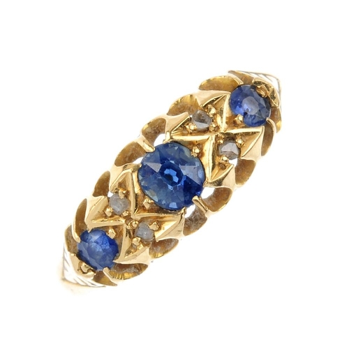 340 - An Edwardian 18ct gold sapphire and diamond ring. The cushion-shape sapphire graduated line, with di...