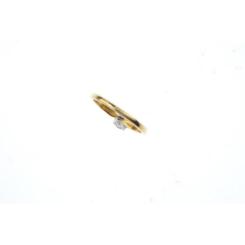 343 - A 18ct gold diamond single-stone ring. The brilliant-cut diamond, with tapered shoulders. Estimated ...