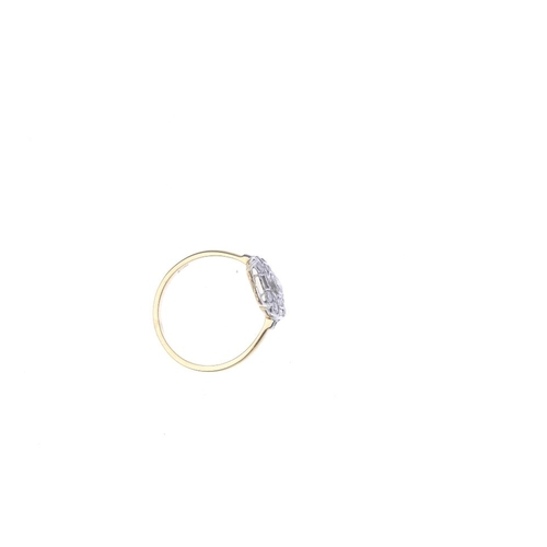 347 - A diamond cluster ring. The brilliant-cut diamond, within a similarly-cut diamond double surround an...