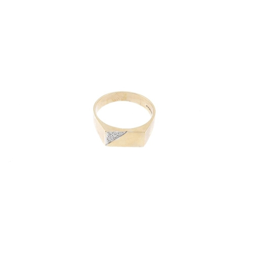 352 - Three 9ct gold dress rings. To include a diamond accent rectangular-shape panel ring, a pear-shape g...