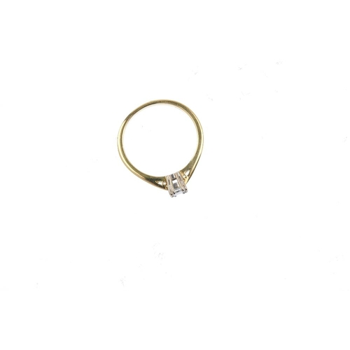 357 - An 18ct gold diamond single-stone ring. The rectangular-shape diamond, with tapered shoulders. Estim...