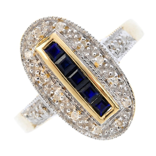 362 - A 9ct gold sapphire and diamond dress ring. The square-shape sapphire line, with single-cut diamond ...