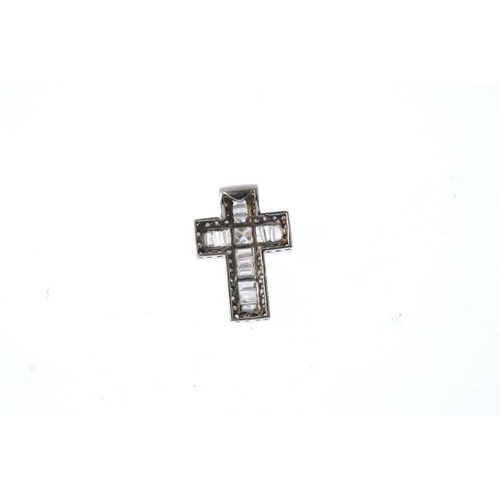 364 - A 9ct gold diamond cross pendant. The square-shape diamond, with baguette-cut diamond arms and singl...