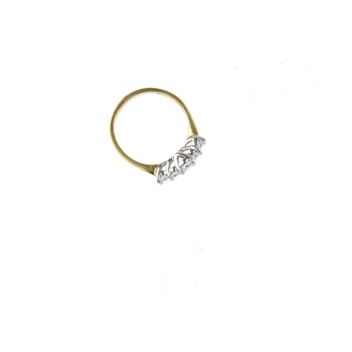 365 - An 18ct gold diamond five-stone ring. The graduated brilliant-cut diamond line, with plain band. Tot...