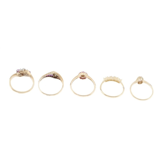 367 - Five 9ct gold gem-set dress rings. To include a ruby and diamond dress ring, a ruby, sapphire and di...