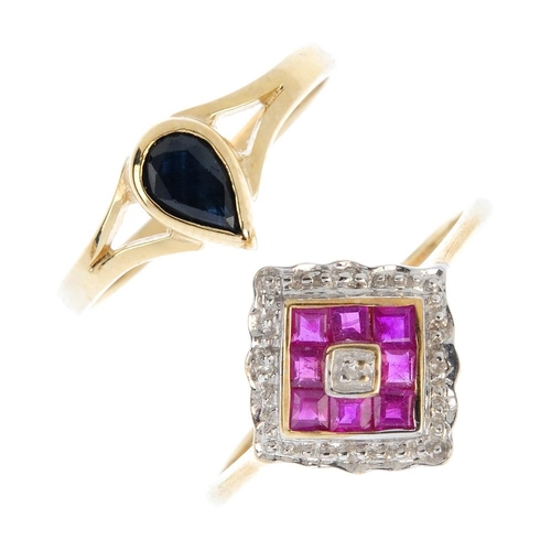 370 - Three 9ct gold diamond and gem-set rings. To include a ruby and diamond accent panel ring, a diamond...