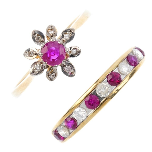371 - Three 9ct gold ruby and diamond rings. To include a ruby and diamond three-stone ring, a ruby and di...