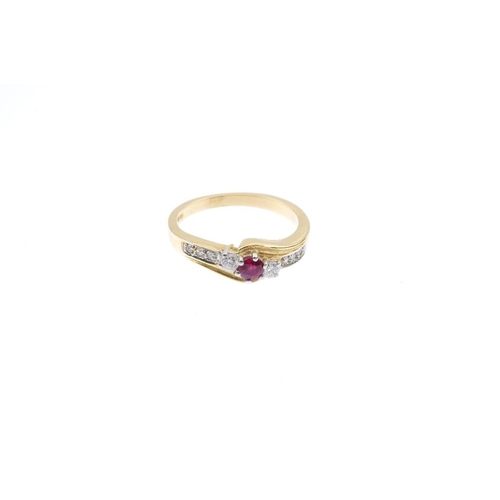 374 - Three 18ct gold ruby and diamond rings. To include a ruby and diamond floral cluster ring, a ruby an...