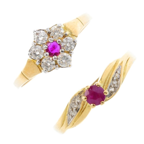 377 - Two 18ct gold diamond and ruby rings. To include a circular-shape ruby and brilliant-cut diamond flo...