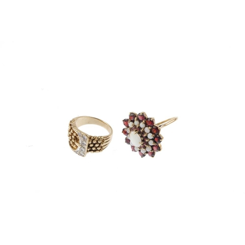 380 - Two gem-set rings and a pair of stud earrings. To include a 9ct gold cubic zirconia buckle ring, an ...