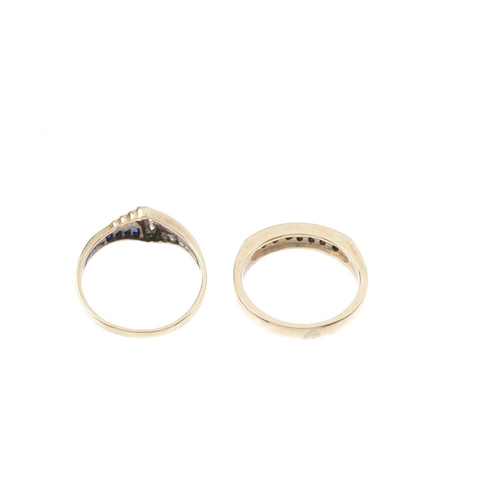 382 - Two 9ct gold diamond and gem-set rings. To include a sapphire, ruby and diamond dress ring, and a sa...
