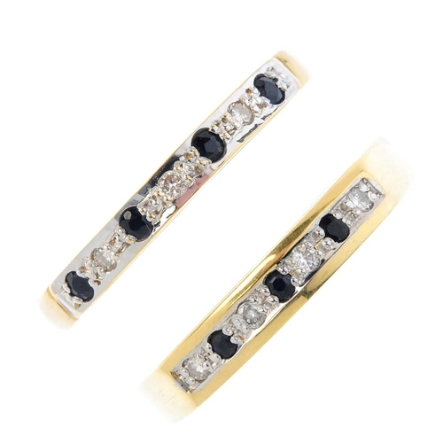 385 - Two 18ct gold sapphire and diamond half-circle eternity rings. Each designed as a circular-shape sap...