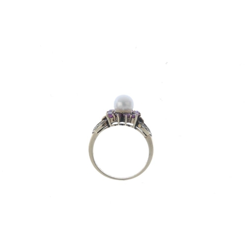 388 - A 9ct gold cultured pearl ruby and diamond dress ring. The cultured pearl, with circular-shape ruby ...
