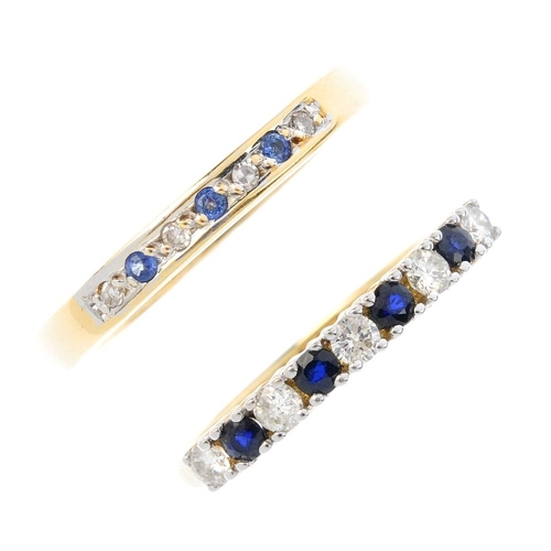 393 - Two gold sapphire and diamond half-circle eternity rings. Each designed as an alternating sapphire a...