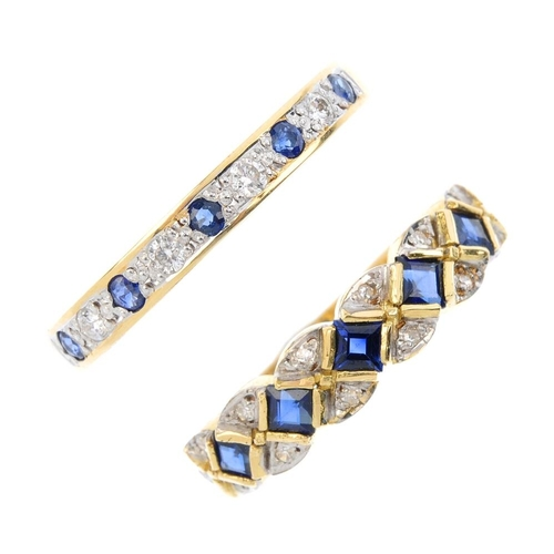 396 - Two 18ct gold sapphire and diamond rings. To include an alternating circular-shape sapphire and sing...