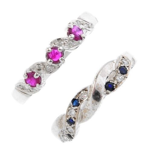 40 - Three 18ct gold diamond and gem-set band rings. To include an alternating diamond and ruby double li...