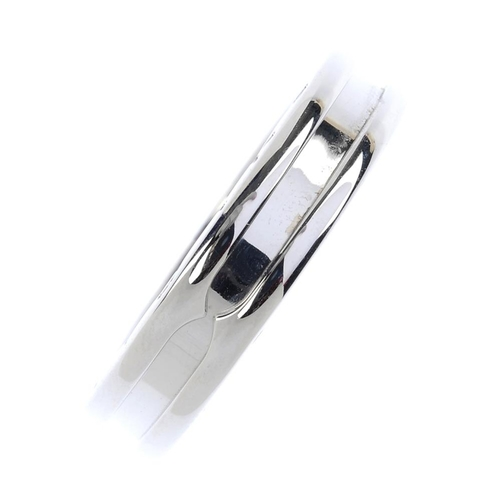 405 - BULGARI - a 'B.Zero1' band ring. The plain band, with raised border and Bulgari logo sides. Signed B...