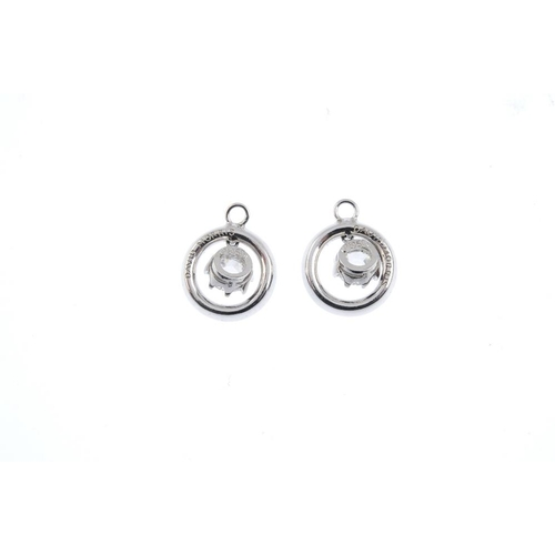 409 - DAVID MORRIS - a pair of platinum diamond earrings. Each designed as a rose-cut diamond, within a br...