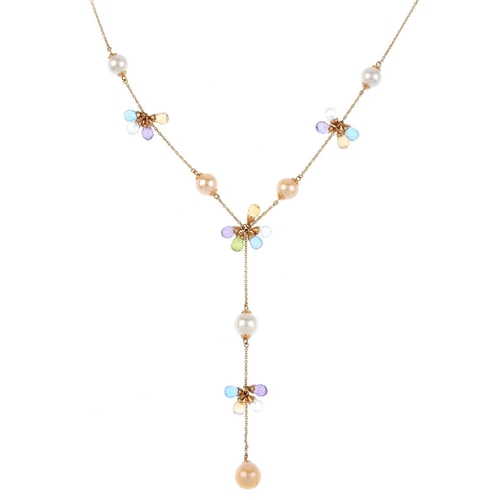 415 - LINKS OF LONDON - a cultured pearl and gem-set necklace. Designed as an alternating bi-colour cultur...