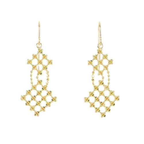 421 - TIFFANY & CO. - a pair of earrings. Each designed as two graduated lattice panels, suspended from a ...