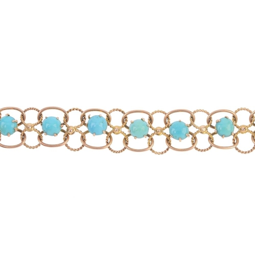 426 - A turquoise bracelet. Designed as a series of turquoise cabochons, within bead and rope-twist wirewo...