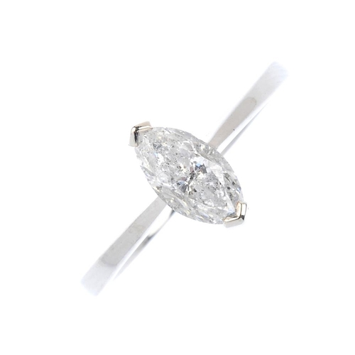 431 - An 18ct gold diamond single-stone ring. The marquise-shape diamond, with tapered shoulders. Estimate...